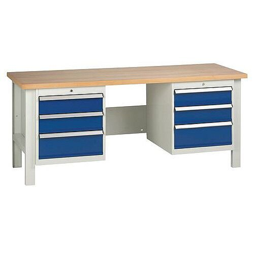 Medium Duty Workbench With 2 Triple Drawer Units H840 x L1800 x D650mm