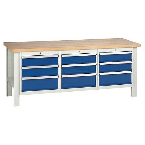 Medium Duty Workbench With 3 Triple Drawer Units H840 x L2000 x D650mm