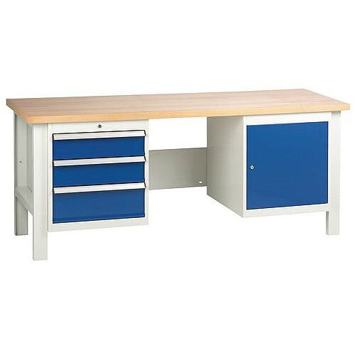 Medium Duty Workbench With 1 Triple Drawer Unit And 1 Cupboard H840 x L2000 x D650mm