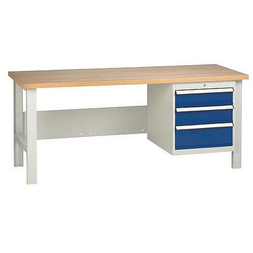 Medium Duty Workbench With 1 Triple Drawer Unit H840 x L1800 x D650mm