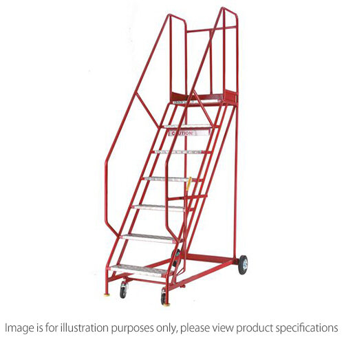 Heavy Duty Warehouse Steps Aluminium 6 Tread Max Height 2.415M Platform Height 1.5M