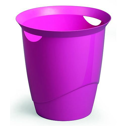 Plastic Waste Basket Office Desk Bin Pink 16L