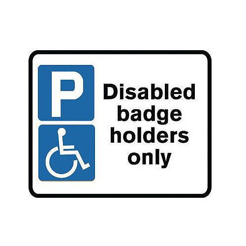 Reflective Disabled Badge Holders Only Sign Post Mounted Sign