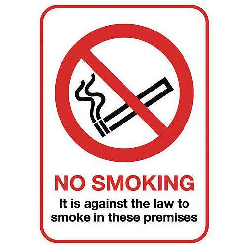 Rigid Plastic Smoking Prohibition Sign No Smoking A5 Sign
