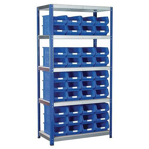 Regular Bin Shelving Kit With Blue Bins