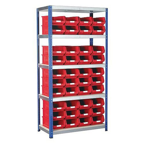 Regular Bin Shelving Kit With Red Bins
