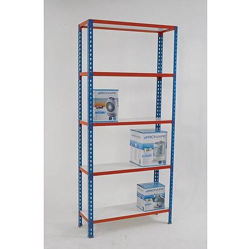 Simonclick Boltless Shelving Unit With 5 Melamine Faced Shelves HxWxD 2000x900x500mm - 175kg Shelf Capacity, Easy To Clean Shelf Surface