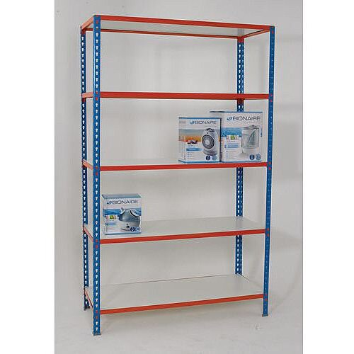 Simonclick Boltless Shelving Unit With 5 Melamine Faced Shelves HxWxD 2000x1200x300mm - 175kg Shelf Capacity, Easy To Clean Shelf Surface