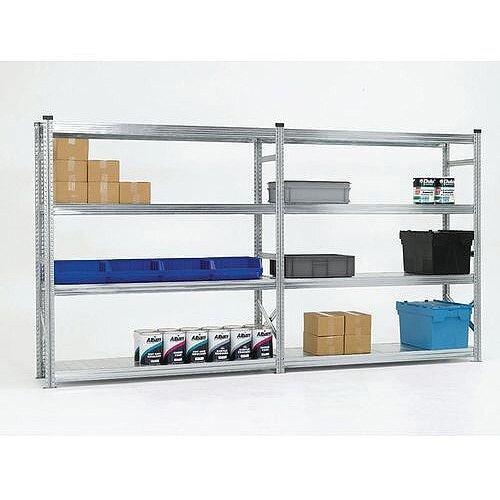 Zinc Plated Boltless Steel Longspan Shelving Add-On Bay HxWxD 2500x1800x600mm - 4 Shelf Levels, 305kg Shelf Capacity