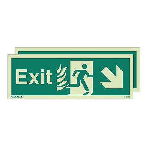 Double Sided Nhs Htm 65 Exit Sign Exit Arrow Down Right HxW 200x450mm