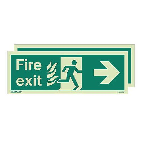 Double Sided Nhs Htm 65 Exit Sign Fire Exit Arrow Right HxW 200x450mm