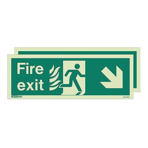 Double Sided Nhs Htm 65 Exit Sign Fire Exit Arrow Down Right HxW 200x450mm