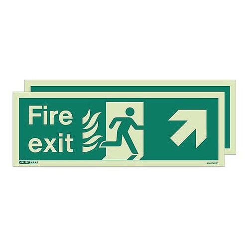 Double Sided Nhs Htm 65 Exit Sign Fire Exit Arrow Up Right HxW 200x450mm