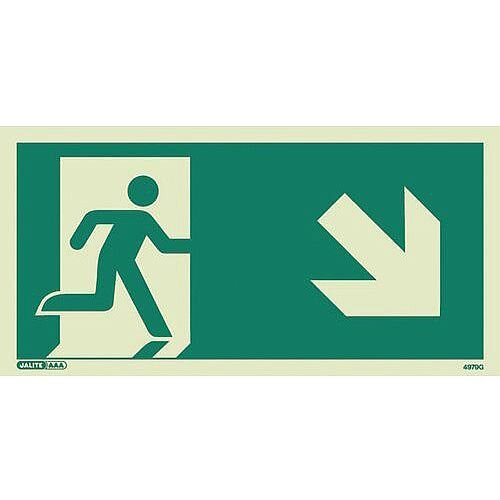 Photoluminescent Safety Way Guidance Sign Arrow Down Right HxW 100x200mm