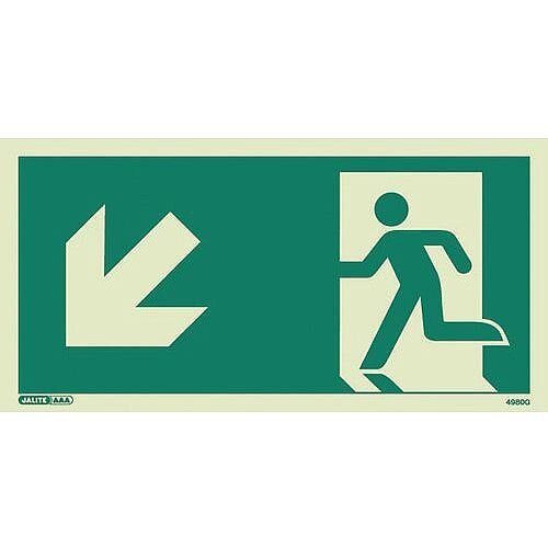 Photoluminescent Safety Way Guidance Sign Arrow Down Left HxW 100x200mm