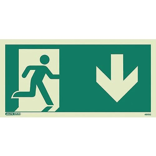 Photoluminescent Safety Way Guidance Sign Arrow Down HxW 100x200mm