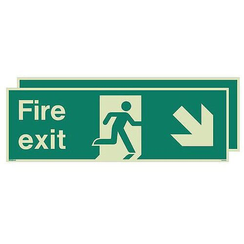 Photoluminescent Double Sided Fire Exit Sign Arrow Down Right HxW 250x600mm