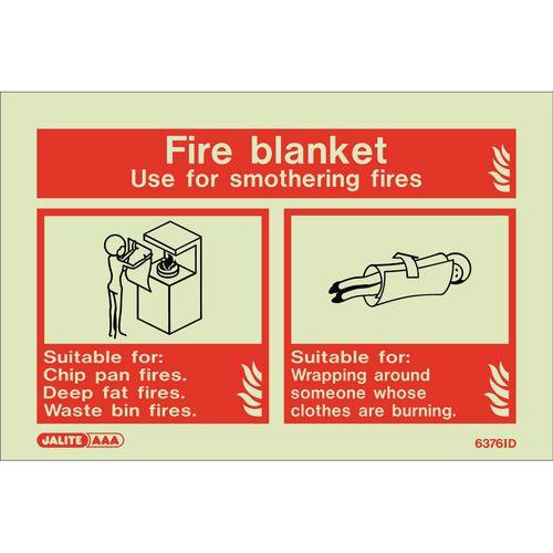 Photoluminescent Sign Fire Blanket Hxw: 100X150 Fire Blanket