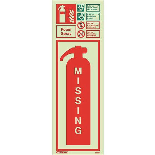 Photoluminescent Fire Extinguisher Missing Identification Foam Spray Hxw: 200X450