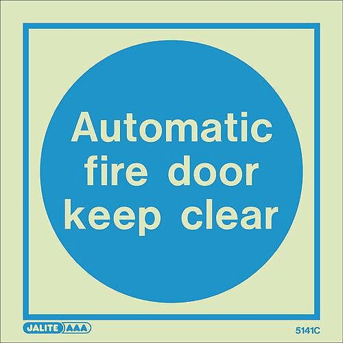 Photoluminescent Sign Automatic Fire Door Keep Clear HxW: 150x150