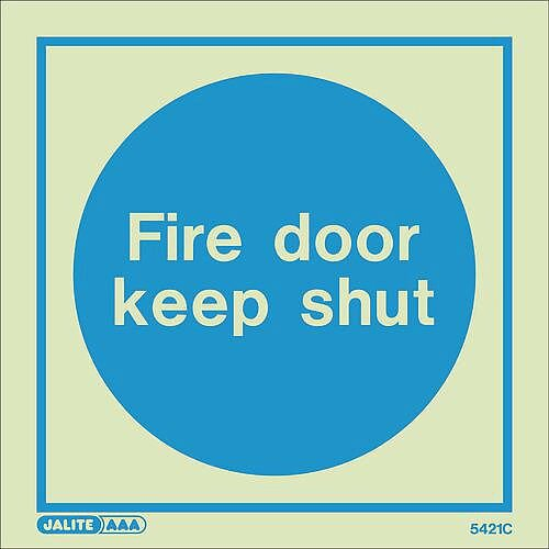 Photoluminescent Sign Fire Door Keep Shut HxW: 150x150