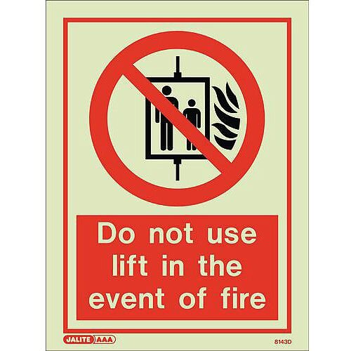 Photoluminescent Sign Do Not Use Lift In The Event Of Fire HxW: 200x15