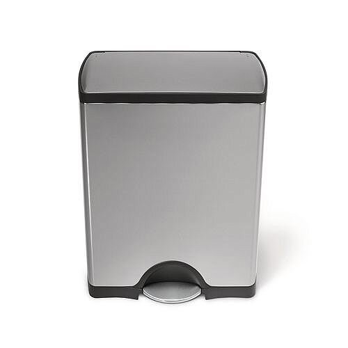 Deluxe Rectangular Pedal Waste Bin 30L Silver