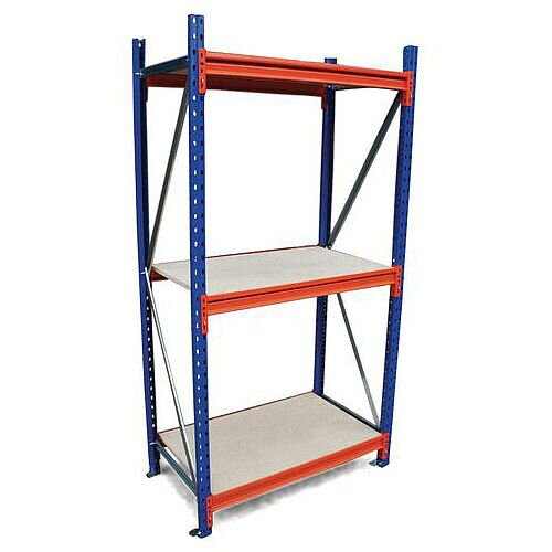 Heavy Duty Wide Span Shelving Starter Bay HxWxD 2000x2400x1200mm - Boltless Design, 500kg Shelf Capacity, 3 Chipboard Decks, 6 Beams, 2 Supporting Frames, Safety Clips &Footplates Included