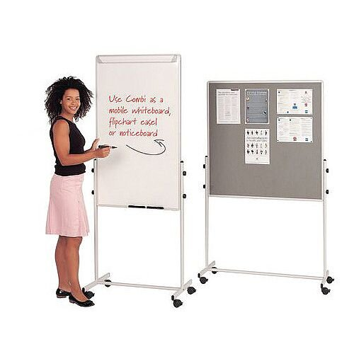 Mobile Flip Chart Combination Unit With Whiteboard And Felt Noticeboard Combi Noticeboard 1000X1000mm