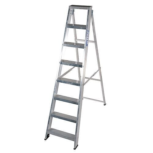 Aluminium Hinged Back General Purpose Steps Height 2.2m No Of Treads 9 Silver