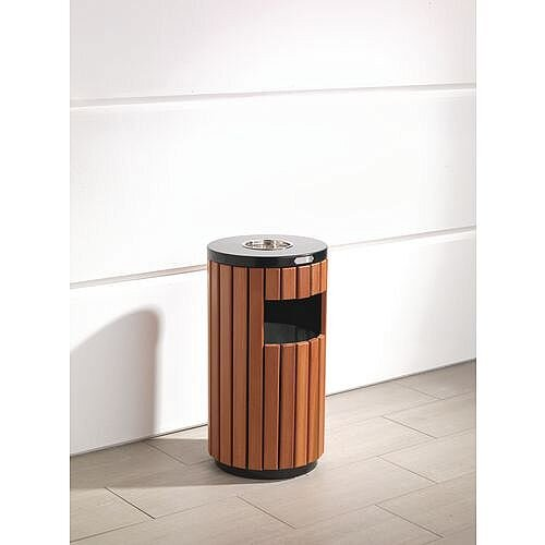 Wood/Timber Effect Outdoor Litter Bin With Built In Ashtray Top And Side Slot 30L