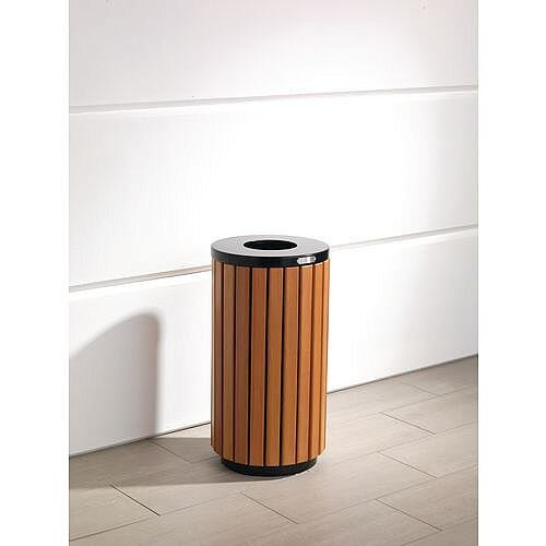 Wood/Timber Effect Open Top Outdoor Litter Bins 42L