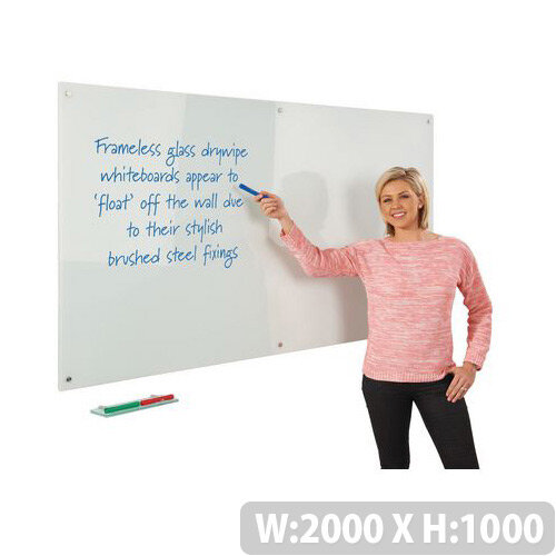 Write-on Magnetic Glass Whiteboard 1000x2000mm White