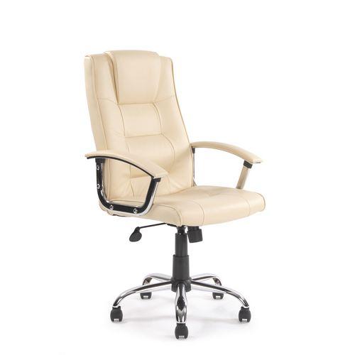 High Back Leather Faced Chrome Framed Office Armchair