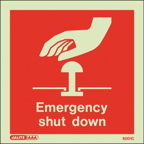 Photoluminescent Emergency Shut Down Sign