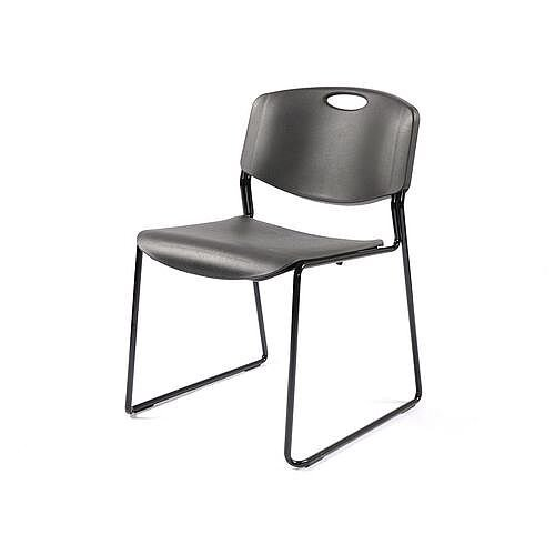 Monza Stacking Chair Black Shell Black Frame