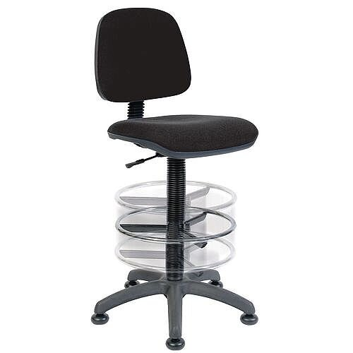 ERGO BLASTER Deluxe Medium Back Draughter Chair H600 - 860mm With Adjustable Foot Ring Black Fabric Seat