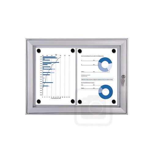 Economy Indoor/Outdoor Lockable Magnetic Noticeboard 2xA4