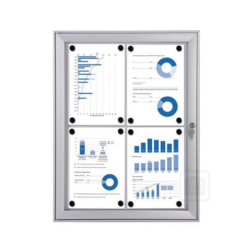 Economy Indoor/Outdoor Lockable Magnetic Noticeboard 4xA4