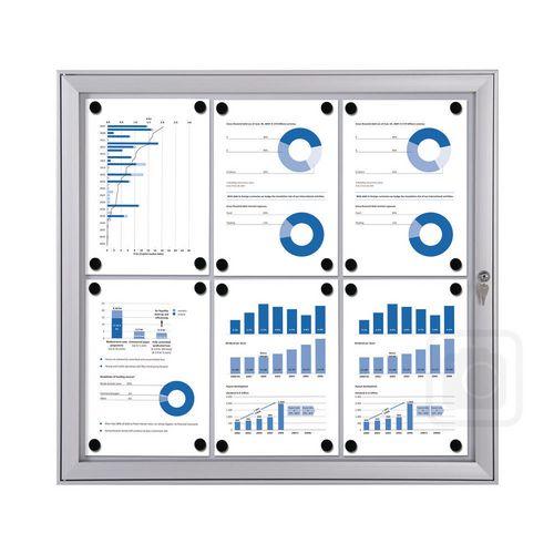 Economy Indoor/Outdoor Lockable Magnetic Noticeboard 6xA4