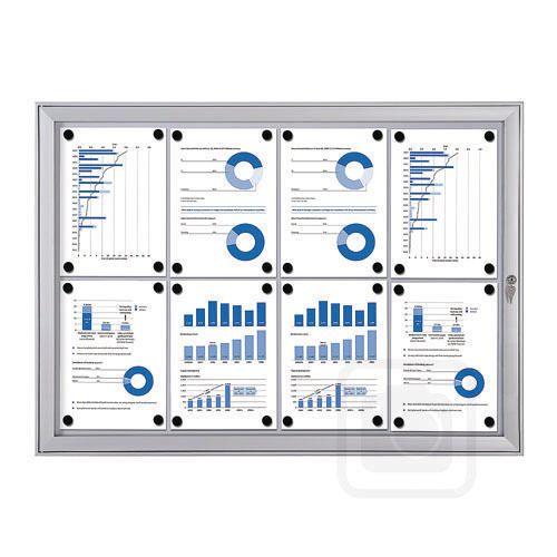 Economy Indoor/Outdoor Lockable Magnetic Noticeboard 8xA4