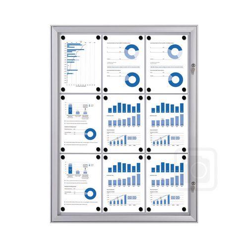 Economy Indoor/Outdoor Lockable Magnetic Noticeboard 9xA4