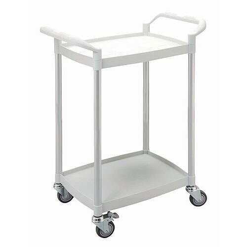Two Tier Plastic Utility Tray Trolley With Open Sides And Ends With 2 White Mini Size Shelves