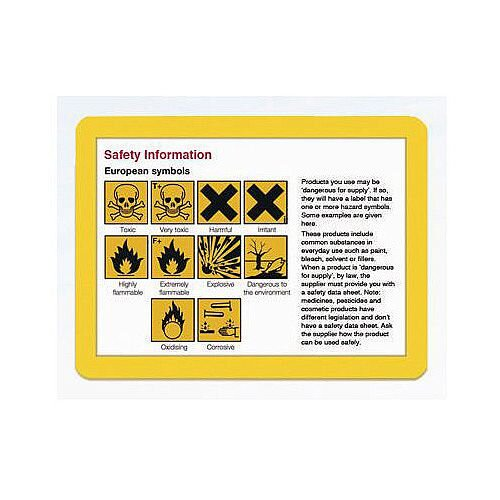 Document Frame A4 Magnetic Yellow Pack of 10