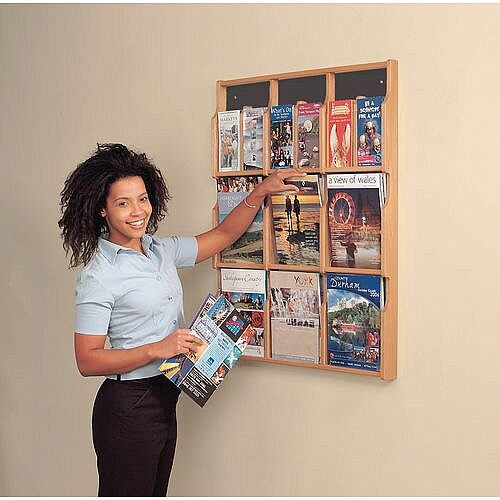 Wall Mounted Wood Literature Display Pocket Size 6 X 1/3 A4 and 6 x A4