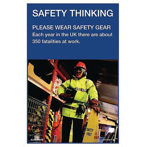 Poster Safety Thinking Wear Safety Gear 760X510 Paper