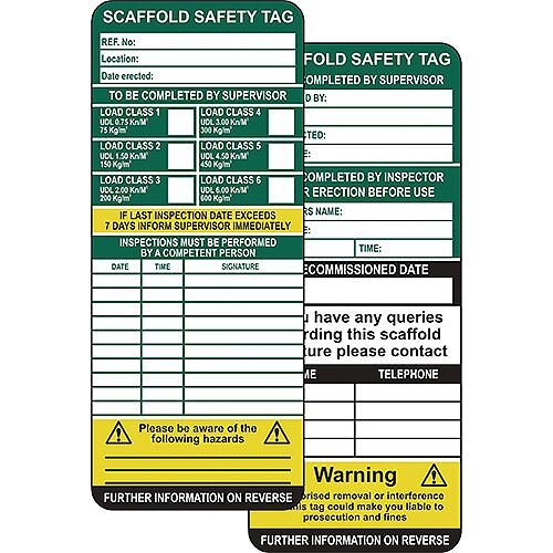 Scaffolding Safety Management Tags Pack of 10 Inserts