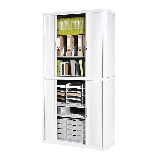 Economy Tambour Cupboard 2040mm High White