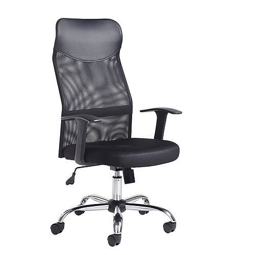 Aurora Highback Mesh Office Chair With Headrest Fixed Arms Chrome Base Black