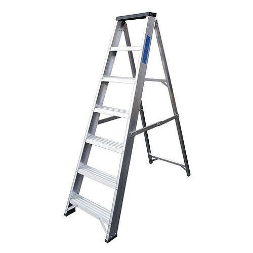 Industrial And General Purpose Aluminium Ladder 7 Steps Open Height 1.48m Silver